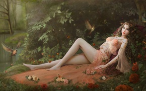 Picture forest, girl, flowers, birds, figure, roses, dress, fairy, fantasy, art, lies, elf, the bushes, FAE, …