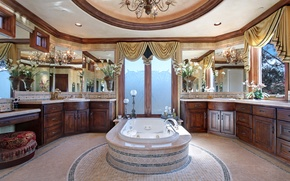 Picture photo, Design, Curtains, Bathroom, Chandelier, Interior