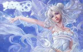 Wallpaper girl, art, rod, white hair, bishoujo senshi sailor moon, sunmomo, princess serenity, Epistle, tsukino usagi