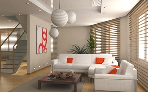 Picture sofa, ladder, blinds, living room