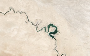 Picture space, river, planet, plain, Earth, NASA, relief, the, Iraq, photo, Baghdad