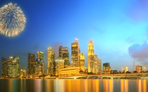 Picture Home, Night, The city, Panorama, Salute, Skyscrapers, Singapore