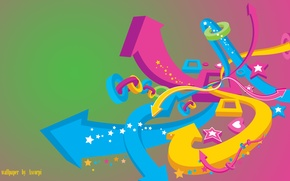 Picture yellow, pink, blue, arrows, color, hearts, green, form