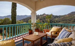 Picture landscape, pillow, chairs, table, terrace