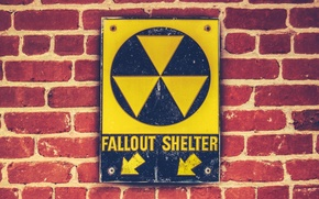 Picture bricks, sign, fallout shelter, wall sign