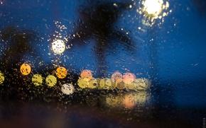 Wallpaper lights, glass, globes, night, raining, drops