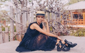 Picture girl, style, tree, shoes, dress, hat
