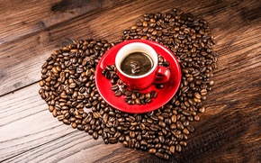 Picture heart, coffee, grain, Cup, red, saucer