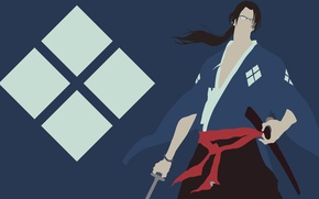 Picture sword, logo, game, Samurai Champloo, minimalism, anime, katana, man, samurai, asian, glasses, manga, japanese, kimono, …