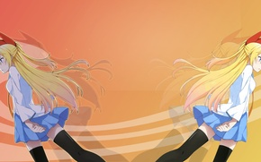 Picture blue, blonde, Anime, schoolgirl, feigned love, long-haired. orange, red bow