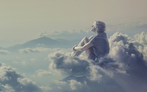 Picture girl, clouds, reverie, creative, fantasy, blonde
