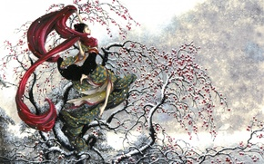 Picture winter, girl, snow, apples, Japanese, Japan, scarf, kimono, Asian, Rowan, graceful, Pepin