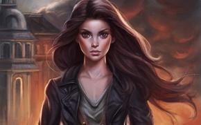 Wallpaper girl, hair, smoke, art, ChrisKimArt