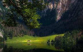 Picture forest, mountains, lake, waterfall, Bayern, Pai shaka