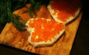 Picture food, Board, caviar, parsley, red caviar