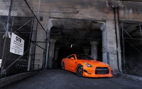 Picture orange, the building, gate, nissan, front view, Nissan, gt-r, orange, r35