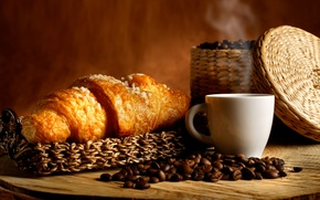 Picture coffee, basket, coffee beans, aroma, coffee, croissants, basket, coffee beans, aroma, growing