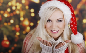 Picture white, girl, smile, New Year, Christmas, blonde, red, cap, sweater, Christmas