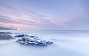 Picture sea, fog, stones, the ocean, dawn
