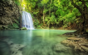 Picture water, trees, stones, waterfall, moss, stream, pond