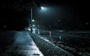 Picture The city, Rain, Black and white, Noir.