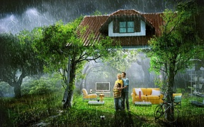 Picture house, rain, family, living room