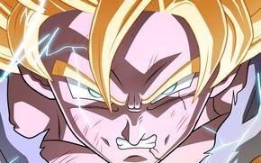 Picture Power, blue eyes, blonde, shadows, lighting, angry, Goku, Dragon Ball Z, Super Saiyan 3