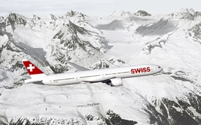 Picture wing, rocks, snow, mountains, Passenger, flight, height, wing, passenger airliner, Swiss, Boeing, rocks, sky, the ...