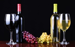 Picture wine, red, white, glasses, grapes, bottle, wine, grapes
