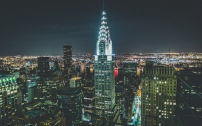 Picture USA, skyline, night, Manhattan, NYC, New York City, skyscraper, skyscrapers, America, United States of America, …