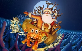 Picture new year, Christmas, deer, Santa Claus