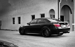 Wallpaper black, the building, Windows, bmw, BMW, wheels, drives, black, rear view, e60