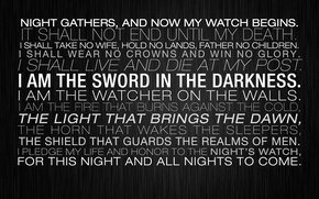 Picture light, sword, night, walls, live, come, death, guards, Game of Thrones, glory, letters, honor, father