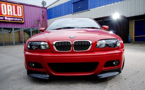 Picture red, bmw, BMW, red, spotlight, the front, e46, back yard