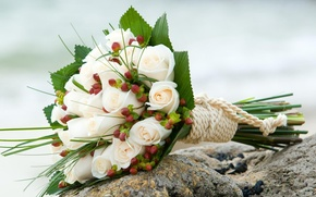Picture sea, mood, shore, roses, bouquet, wedding, rope