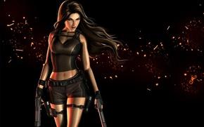 Picture look, girl, weapons, hair, guns, art, Tomb Raider, black background, Lara Croft