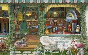 Picture art, cafe, house, Janet Kruskamp, shop