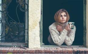 Picture look, girl, window, mug, sweater