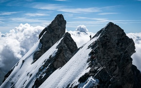 Picture clouds, mountains, people, sport, mountain, climbing