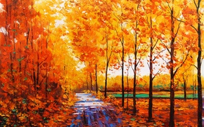 Picture autumn, leaves, trees, nature, yellow, art, track, artsaus