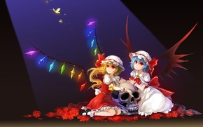 Picture butterfly, flowers, girls, skull, roses, wings, art, crystals, cap, touhou, remilia scarlet, flandre scarlet, cuff, …