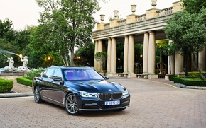 Picture lawn, BMW, track, arch, fountain, mansion, 730d