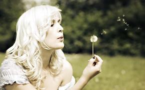 Picture summer, girl, dandelion