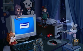 Wallpaper toys, night, computer