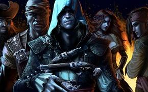 Picture pirate, assassin, Assassin's Creed IV: Black Flag, Edward Kenway, Blackbeard, Adewale, Anne Bonny, Eveline Guerra