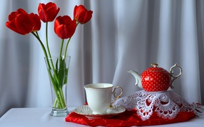 Picture kettle, flowers, still life, table, Cup, bouquet, tulips