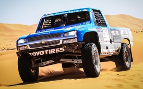 Picture racing car, Trophy Truck, Silverado, sand, pickup, Chevrolet, the front, Chevrolet, Silverado