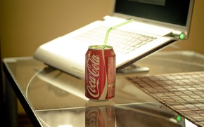 Picture style, table, laptop, drink, coca-cola, style, notebook, Stelco