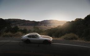 Wallpaper sunset, 240z, roadside