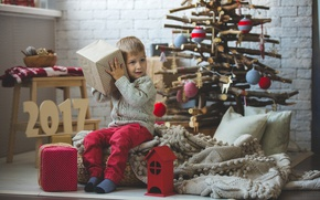 Picture Boy, New Year, Children, Tree, Gifts, 2017